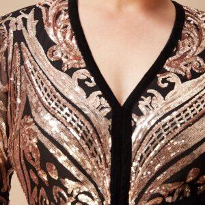 Plus Size Sequin Jumpsuit with Deep V Neck
