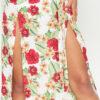 White Floral Print Sleeve Kimono Maxi Dress